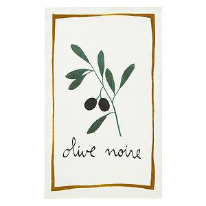 Black Olive Linen Tea Towel - home sale