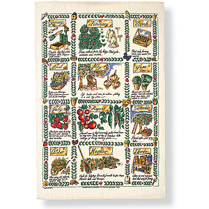 Gardeners Calendar Linen Tea Towel - kitchen accessories