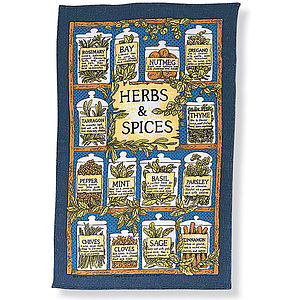 Herbs And Spices Linen Tea Towel