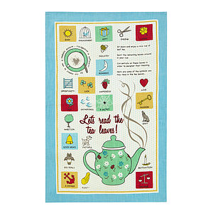 Let's Read The Tea Leaves Linen Tea Towel - kitchen accessories