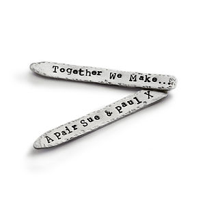 Personalised Silver Collar Stiffeners - gifts for groomsmen