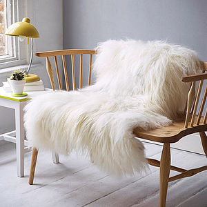 White Icelandic Sheepskin Rug - christmas home accessories