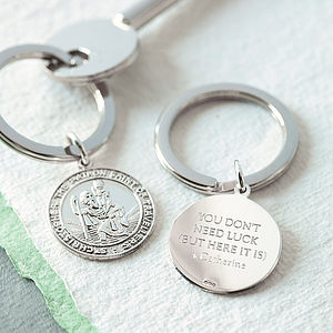 Silver St Christopher Key Ring - personalised