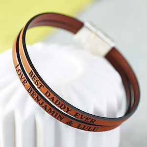 Personalised Double Strap Leather Bracelet - first father's day