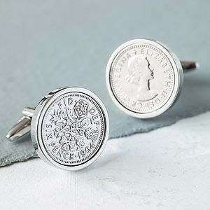 Sixpence Date Coin Cufflinks - personalised