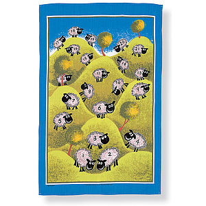 Counting Sheep Linen Tea Towel - kitchen accessories