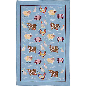 Farmyard Linen Tea Towel