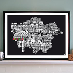 Personalised London Rugby Union Print - personalised