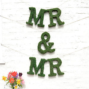 Real Moss Decorative 'Mr And Mr' Sign