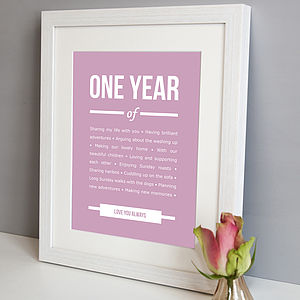 Personalised 1st Year Anniversary Print - art & pictures