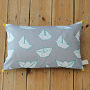 Boats Print Pom Pom Corners Cushion