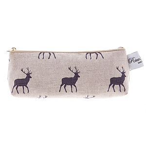 Plum Stag Pencil Case - make-up & wash bags