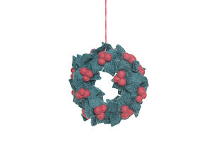 Handmade Felt Holly Wreath - tree decorations