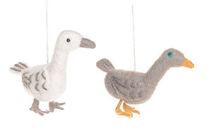 Handmade Felt Brown/White Goose - easter decorations