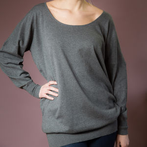 Simone Slouchy Grey Jumper - jumpers & cardigans