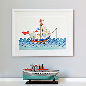 Personalised Boat At Sea Nursery Print - mixed media pictures