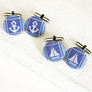 Nautical Fabric Cufflinks - men's jewellery