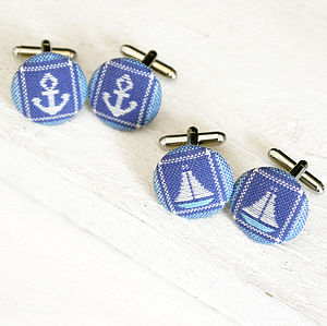 Nautical Fabric Cufflinks