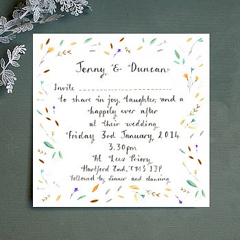 Personalised Teal Leaves Wedding Invitation