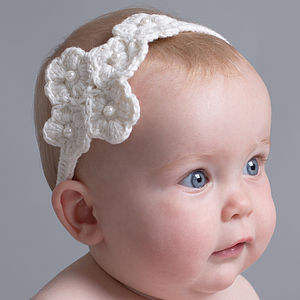 Hand Crochet Baby Headband - christening wear