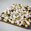 soft mini marshmallows, diced fudge pieces and crushed coffee beans