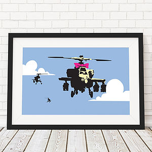 Banksy Apache Helicopter Framed Print