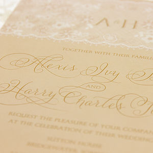 Dentelle Lace Monogram Wedding Invitation