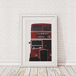 British Bus Cropped Framed Print