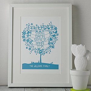 Personalised Family Names Tree Papercut Print - home & garden gifts