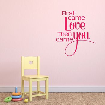 'First Came Love' Baby Wall Sticker - Hot Pink