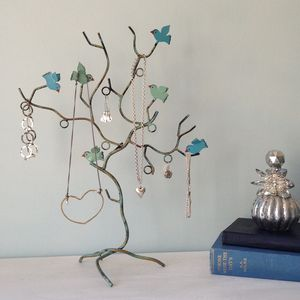 Blue Or Cream Birds Jewellery Tree Stand Two Colours - jewellery storage & trinket boxes
