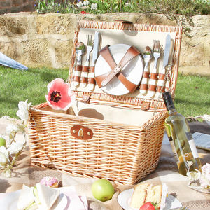 Natural Wicker Four Person Country Picnic Set - picnic hampers & baskets