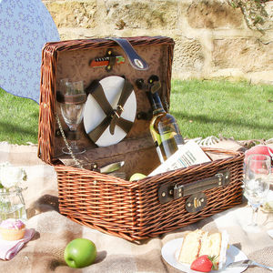 Two Person Rattan Picnic Hamper Set - cosy picnic