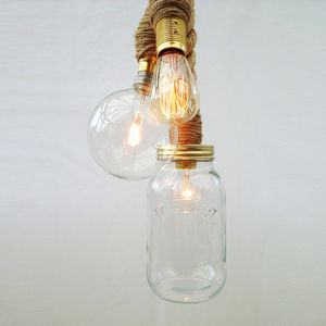 Sisal Three Bulb Rope Pendant Light - lighting
