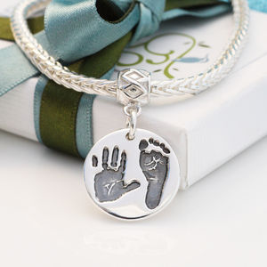 Handprint And Foorprint Pandora Style Charm - women's jewellery