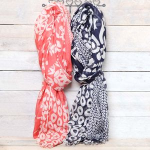 Coral Or Navy Maltese Print Scarf - women's accessories
