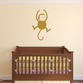 Swinging Monkey Wall Sticker - Gold