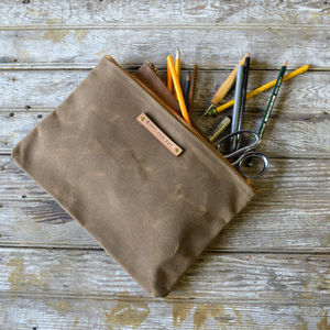 Large Waxed Canvas Pouch - make-up bags