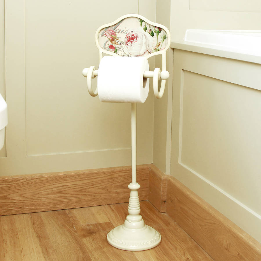 Vintage rose standing toilet roll holder by dibor Antique toilet roll holders