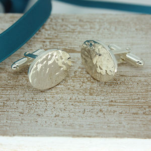 Oval Easter Egg Cuff Links In Sterling Silver