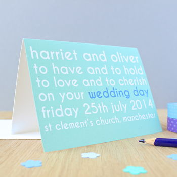 Personalised Wedding Vows Card