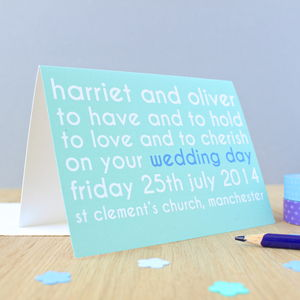 Personalised Wedding Vows Card - styling your day sale