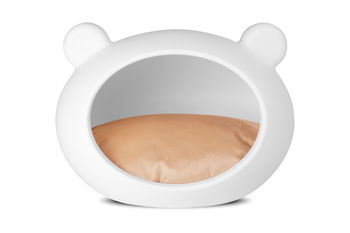 Small Dog White Cave with Beige Cushion