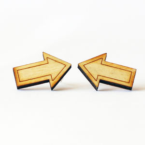 Wooden Arrow Stud Earrings - earrings