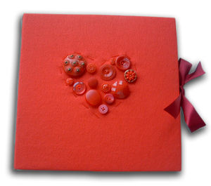 Handmade Heart Button Photo Album - wedding day tokens