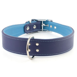 Double Trouble Wide Leather Dog Collar - dogs