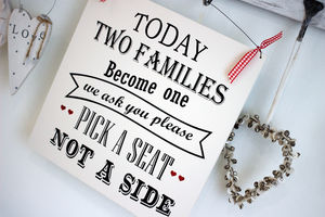 Two Families Become One Wedding Sign - room decorations