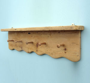 Antique Pine Farmhouse Shelf With With Oak Pegs - furniture