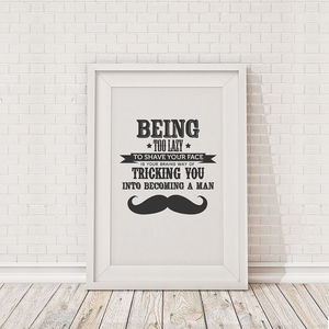 Moustache Being Too Lazy Framed Print