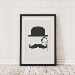 Moustache And Bowler Hat Print